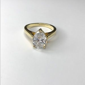 3Ct Simulated Diamond with 14K Gold Plated Ring
